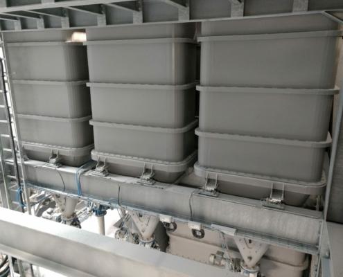 Buffertanks voorzien van weegcellen voor dosering